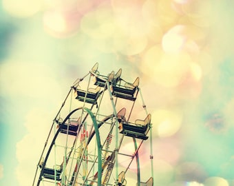 Ferris wheel print little girl room pastel art Ferris wheel decor baby girl nursery wall art print Ferris wheel photography carnival art