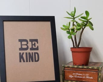 Be Kind - Letterpress Print