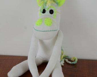 Fluro green sock unicorn, sock unicorn, unicorn