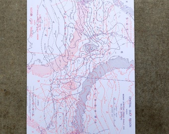 Neon Topographical Map Print