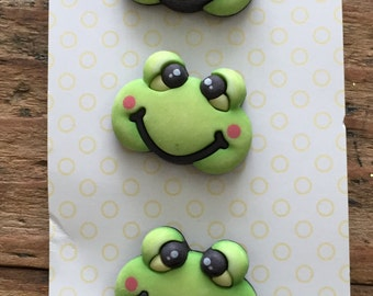 """Frog Buttons, Baby Hugs Collection """"Froggy"""" by Buttons Galore, Carded Set of 3 Buttons, Cute, Bright, Shank Back Buttons, Embellishments"""