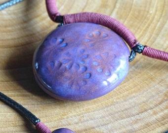 Adjustable purple ceramic necklace