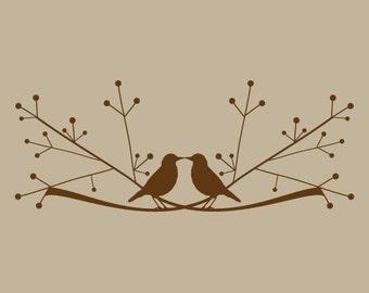 love birds on a limb vinyl sticker decal