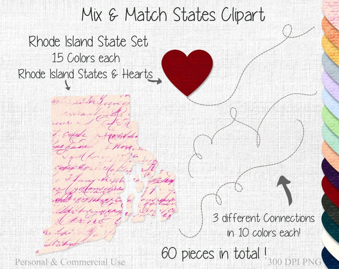 RHODE ISLAND STATE to State Clipart Commercial Use Clipart Mix & Match Home States Wedding Clipart Rhode Island Heart Map Valentine Clipart