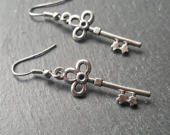 Silver Skeleton Key Earrings - Stocking Stuffer - Trendy Jewelry - Christmas Gift Idea - Handmade Silver Jewelry - Goth Gift - Ren Faire