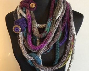 Winter Ice Extra Chunky I-Cord Scarf Necklace