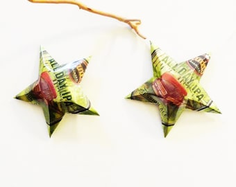 All Day IPA, India Pale Ale Beer Stars Ornaments Aluminum Can Upcycled Green Orange, Canoe Woody Station Wagon