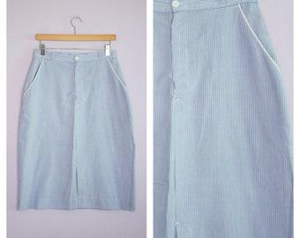 Vintage 1970's/80's Seersucker Straight Skirt M