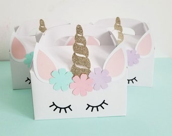 Unicorn Birthday Party Favor Box, Unicorn Theme Favor Box, Goodie Gable Boxes, Magical Unicorn, Party Decoration, Pink Gold, Girl's Party