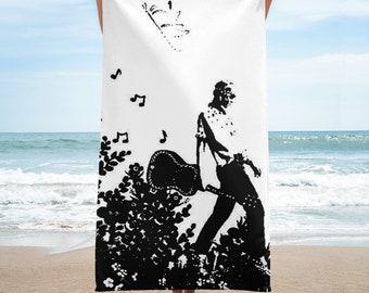 Guitar Girl Beach Towel
