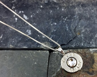 Bullet Necklace, Texas 45 ACP Nickel Bullet Head Sterling Necklace with .925 Sterling Silver Box Chain, Bullet Head Necklace, Texas Necklace
