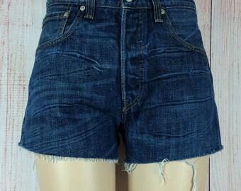 Levis 501 Denim Shorts W32 Dark Blue Faded UK 12
