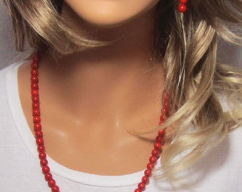 "Genuine Coral Bamboo Coral Red Round Beaded Necklace with 3"" Extender Chain"