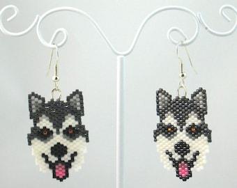 Beaded Alaskan Malamute Earrings