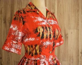 1950s Bright Red Holo-Holo Hawaiian Shirt Dress, Red Novelty Print Shirtdress