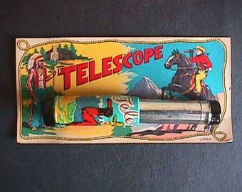50's Vintage Western Tin Telescope on Card