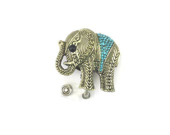 Elephant Badge Holder-Retractable ID Badge Holder-Designer Badge-Badge Reel-Elephant Badge Reel-Elephant Id Badge Holder-Id Reel