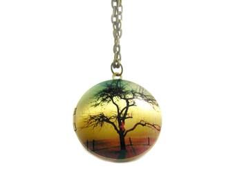 Locket Necklace, Charm Necklace, Long Bronze Necklace, Sunset Necklace, Memory Locket, Tree Locket Necklace, Picture Locket Necklace,