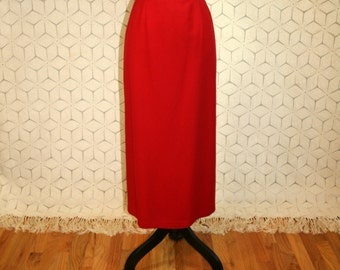 Red Wool Skirt Vintage Maxi Long Skirt Winter Skirt Womens Skirts Red Maxi Skirt Pencil Skirt Sag Harbor Size 12 Skirt Large Womens Clothing