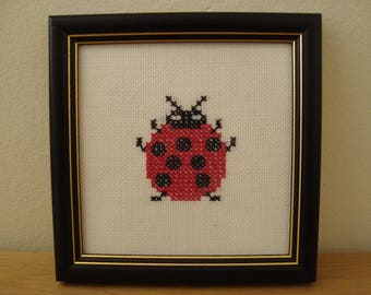 Ladybug Modern Cross Stitch Embroidery Handmade - Red - Ladybug Gift - Ladybug Birthday - Ladybug Baby Shower - Good Luck Gift