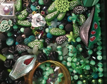 Green & Black Bead Soup Beads Cabs Cabochons Glass Lucite Acrylic Flowers Amazonite Agate Clay Lava Crystal Mix Destash Lot Brass Silver
