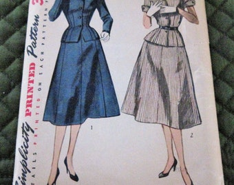 Vintage 1950's Misses' Women's Two Piece Suit Dress Sewing Pattern Simplicity 4089 Size 14/32