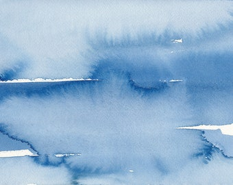 Covered Over, Original Abstract Waterscape Painting, Watercolour, Blue and White