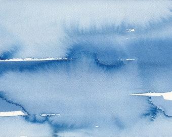 Recouvert, Waterscape abstrait peinture, aquarelle, bleu et blanc