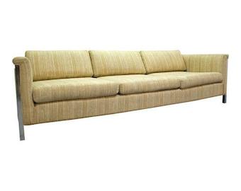 Mid-Century Danish Modern Milo Baughman Style Chrome Frame Sofa #2