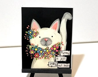 FIVE YEAR SALE Cat Decor, Purring cat, rescue cats, White cat, Floral Cat