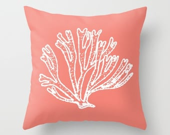 Coral Branch Pillow with insert - Coral Branch Throw Pillow with insert - Nautical Pillow with insert - Nautical Decor - Summer Decor -
