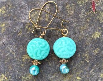 Ornate Scroll Czech Glass Dangle Earrings  Blue Lagoon Czech Glass Earrings  Something Blue earrings