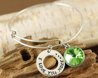 Silver Bangle Bracelet, I Love You More Bracelet, Birthstone Bangle, Mother Jewelry, Gift for Mom, Expandable Bangle