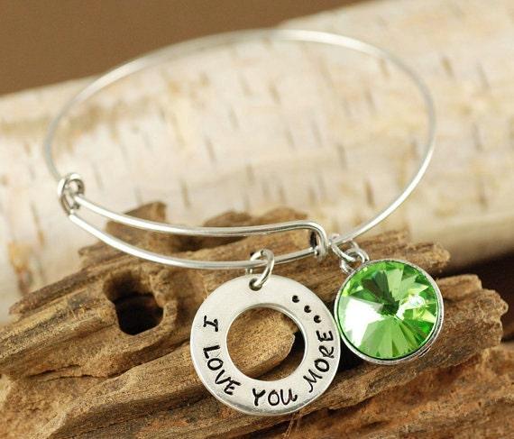 Silver Bangle Bracelet, I Love You More Bracelet, Birthstone Bangle, Mother Jewelry, Gift for Mom, Expandable Bangle