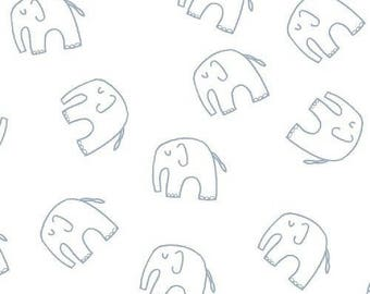 Lotta Jansdotter fabric - Stella - Windham - American cotton - blue Elephants on white background - 50 cm (110 x)