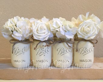 Ivory Mason Jars, Mason Jars for Wedding, Baby Shower Centerpieces, Distressed Mason Jars, Rustic Home Decor, Rustic Wedding Decor