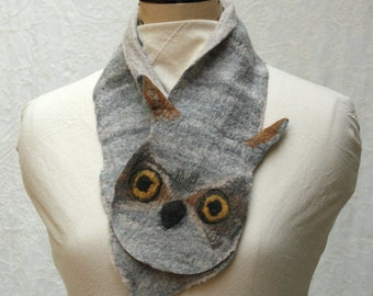 Great Horned Owl Scarflette - Hand Felted Merino Wool - Scarf - Scarflette - Animal Scarf - Gray - Gray Scarf - Wool Scarf