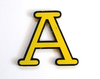 Vintage Yellow and Black Plastic Sign Letter A
