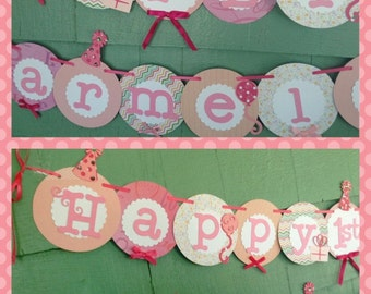Happy first 1st Birthday Banner girl birthday party sign decorations party hats birthday