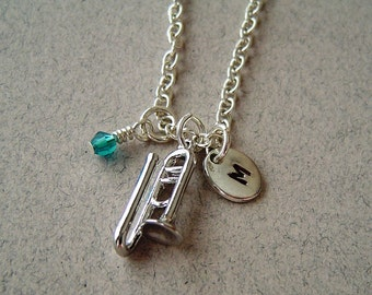 Trombone Charm Necklace,  Personalized Hand Stamped Initial Monogram Birthstone, Silver Plated Trombone charm Necklace
