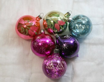 SALE...6 Soviet Vintage  Christmas ornament   Made of Glass in USSR , 60-70s , christmas decoration
