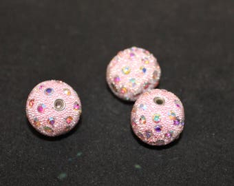Textured & Rhinestone Beaded 20mm Round Bead 3 pcs