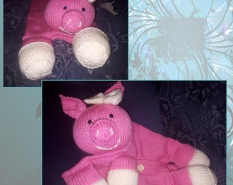 Hand knitted Pig Pyjama Case