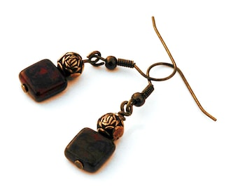 Czech Glass Tile Bead Earrings with Antique Brass Accents, Red,Tan and Green Earthy Colors, Casual Pierced Earrings