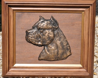 Dogo Argentino - unique relief in wooden frame