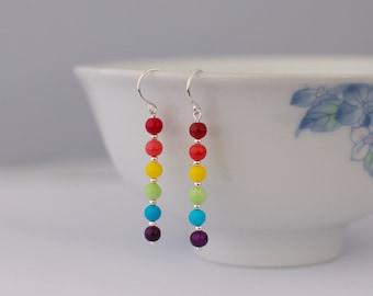 Rainbow Earrings - Czech Glass Beaded Sterling Silver Dangle Drop Earrings Colourful Pride Jewellery Gift by Emma Dickie Design