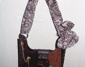 Vintage, Leather, Messenger Bag, Upcycled, Decoupage, Scarf, Brown, Hippie, Bohemian, Boho, Shoulder Bag, Recycled Purse, Gypsy Style