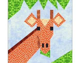Giraffe Quilt Block Paper Pieced Pattern
