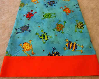 Pillowcase Travel Size Frogs with Orange  Cuff