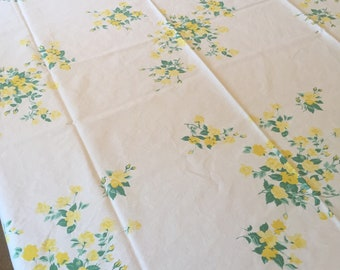 Vintage Tablecloth, White with Yellow Roses and Green Leaves, Wilendur Textile